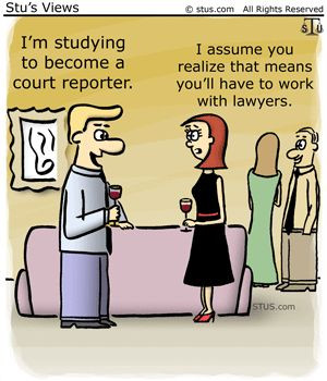 Court reporting cartoon. Cute.