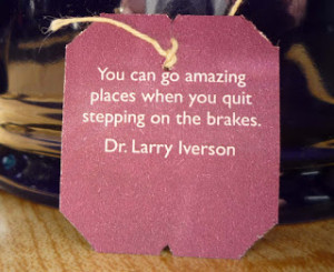 In this coming year, try easing up on the brakes.