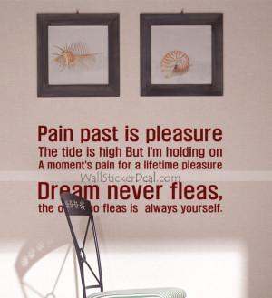 Pain Past Is Pleasure Dream Never Fleas Wall Sticker