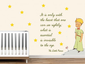 Little Prince Nursery Wall Sticker Decor Saint Exupery Famous Quote ...