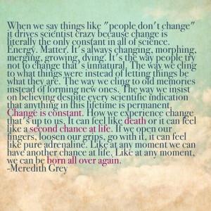 Change - Meredith Grey Quote