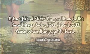 true friend sticks by you through the hard times but a fake friend ...