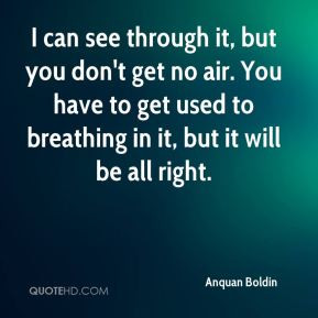 Anquan Boldin - I can see through it, but you don't get no air. You ...