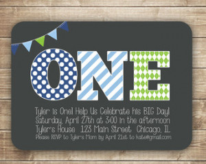 1st Birthday Invitation / First Birthday Invitation / ONE / 1st, 2nd ...