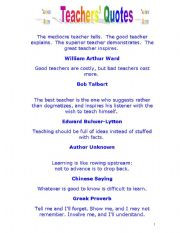 English worksheet: Teacher´s Quotes