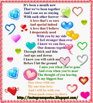 Year Anniversary Poems For Boyfriend One month anniversary poems