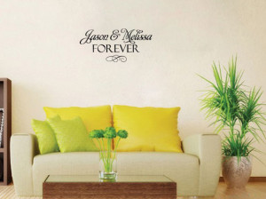 CUSTOM NAME Wedding vinyl wall quote for home(China (Mainland))