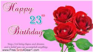 Happy 23rd Birthday Greeting Ecard