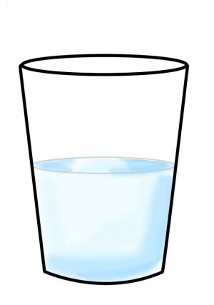 how much empty space is in a cup of water?