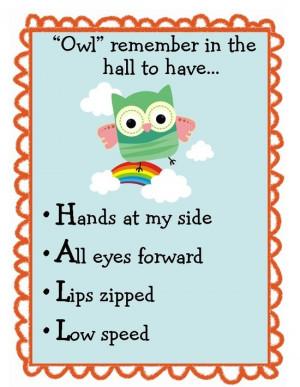 ... | Owl Themed Classroom ideas / Cute owl themed hall behavior poster