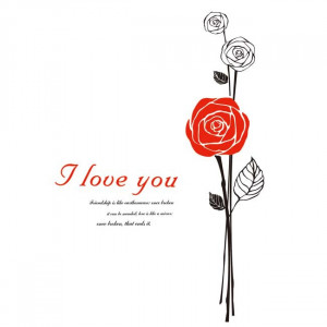 Red-Rose-Wall-decals-Love-quotes-Stickers-living-room-Wall-Decor ...
