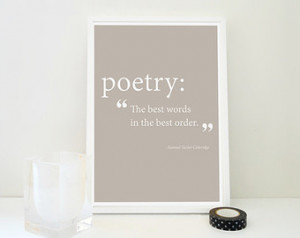 Art Print Poetry Quote Samuel Taylor Coleridge Defining Poetry Famous ...