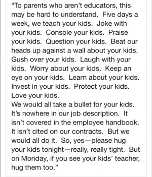 Hug a teacher - Sandy Hook Elementary School, we will not forget.