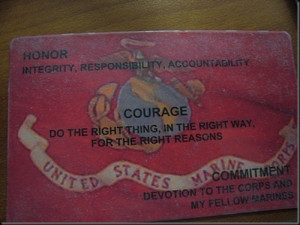 Card given to recruits bearing the Core values