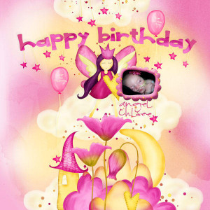 hello little girl happy happy birthday pink card for