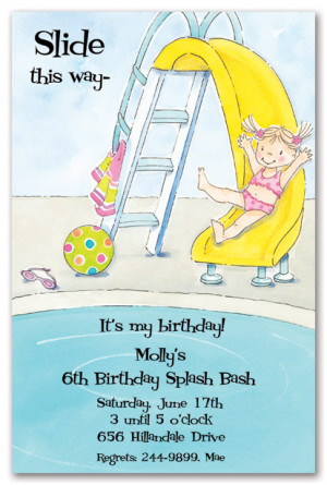 Little Girl Pool Party Birthday Party Invitations