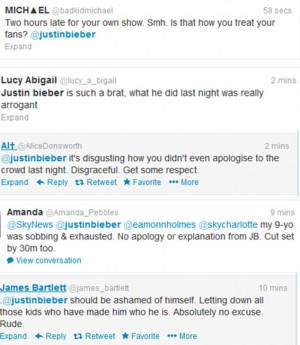 Justin Bieber 2 hours late to his own concert forcing parents to take ...