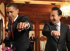 Barack Obama and Lee Myung-Bak