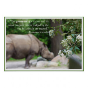 Gandhi Quote, Treat the Animals Well Posters