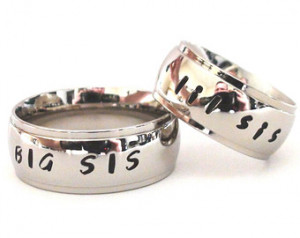 BIG SIS lil sis - Hand Stamped Ring s stainless steel sister custom ...
