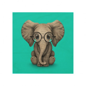 Cute Baby Elephant with Reading Glasses Blue Wood Canvases
