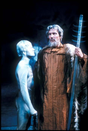 Ian Holm as Ariel with Tom Fleming as Prospero in the RSC's 1963 ...