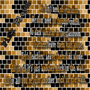 The Wall - Pink Floyd Song Lyric Quote in Text Image