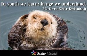 In youth we learn; in age we understand. - Marie von Ebner-Eschenbach