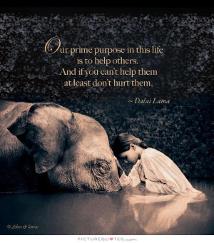 prime purpose in this life is to help others. And if you can't help ...