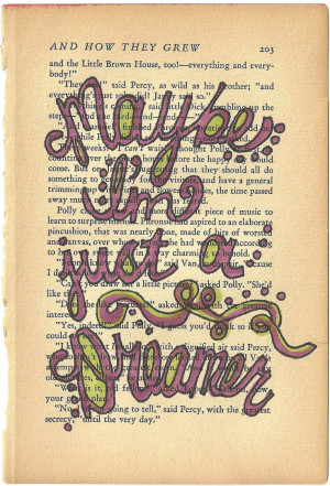 Maybe I'm Just a Dreamer Beatles lyric quote on vintage book paper ...