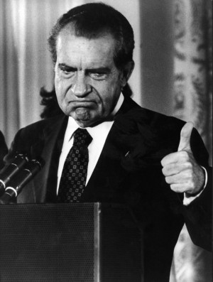 Republican president of the United States Richard Nixon thumbing up ...