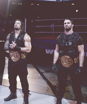 Roman Reigns and Seth Rollins, the tag team champions