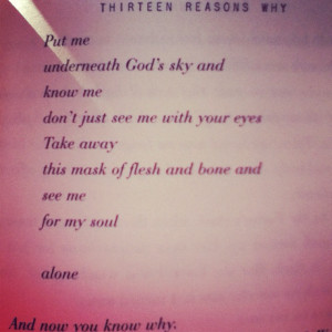 ... , Hannah Baker, Thirteen Reasons, Soul Mates, Soul Alone, Book Quotes