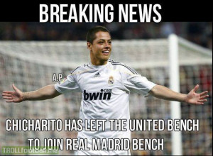 Chicharito joins Real Madrid bench from MUFC Bench