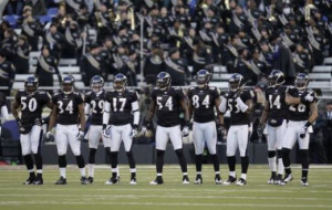 the Baltimore Ravens kick off team line up against the Chicago Bears ...