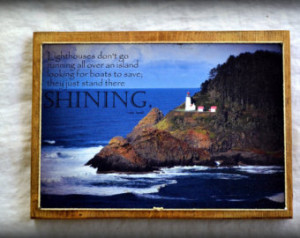 Anne Lamott quote on photo of Light house on Oregon Coast on wood. ...