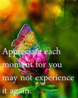 Appreciate each moment for you may not experience it again.