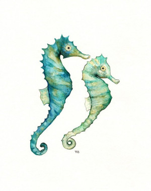 watercolor etsy colorful simple seahorse underwater painting