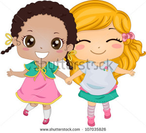 Best Friends - Illustration Featuring Two Girls Holding Hands While ...