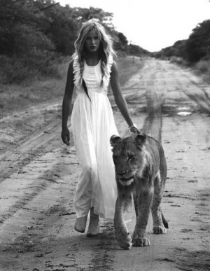 Girl In White Dress With Lion