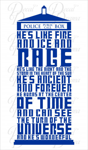 Dr. Who, TARDIS, 10th Doctor, He's Like FIRE and ICE and RAGE, Vinyl ...