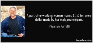 part-time working woman makes $1.10 for every dollar made by her ...