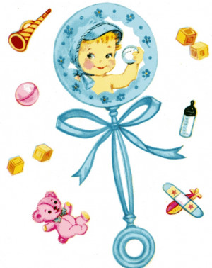 New Baby Boy Card CONGRATULATIONS on Birth Blue Rattle Vintage 1960's ...