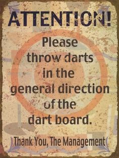 Throw Darts at Dart Board | Funny Tin Sign | Retro Sign | A Simpler ...