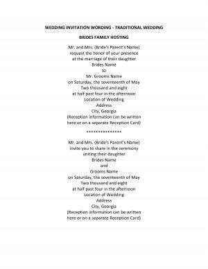 WEDDING INVITATION WORDING - Traditional Wedding Brides Parents ...