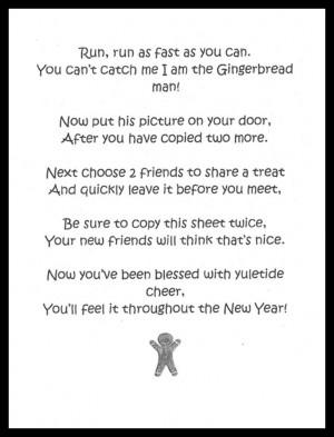 Cheer Gingerbread Man Poem