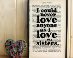 Little Women gift for sisters quote on Vintage Book Page Framed Art ...
