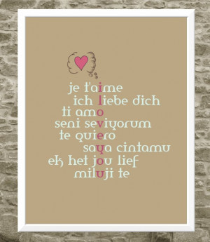 Powerful words in any language: I love you. Typography print of this ...