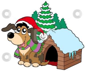 Cute Christmas dog stock vector clipart, Cute Christmas dog - vector ...
