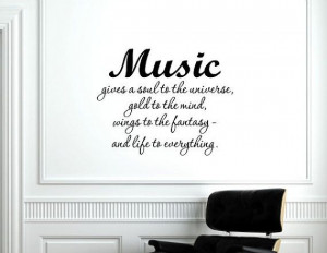 Vinyl Wall words quotes and sayings Music gives a soul door vinylsay ...